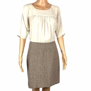 Ann Taylor Loft Ivory Blouse & Tweed Skirted Dress